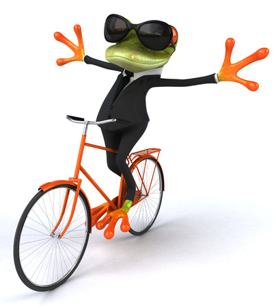 Cartoon frog in a suit riding on bicycle