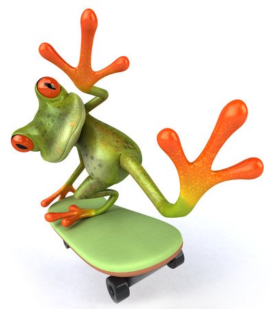Cartoon frog on a skateboard