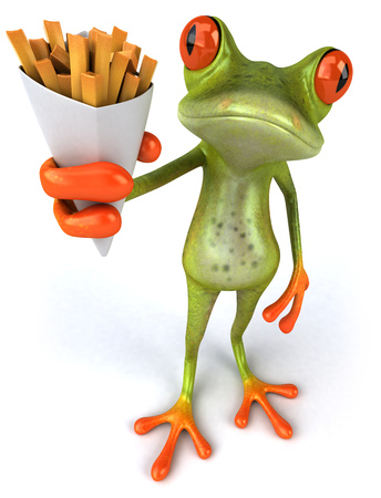 croaking: Cartoon frog with french fries