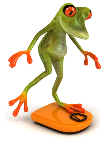 Cartoon frog on weighing scale Stock Photo