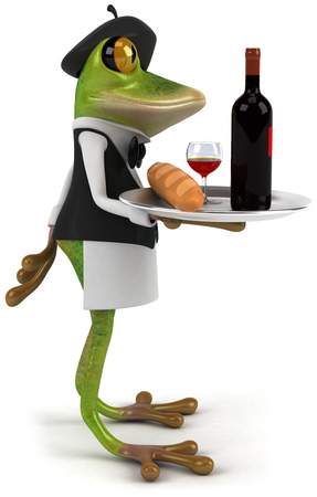 croaking: Cartoon frog as a waiter serving wine and baguette