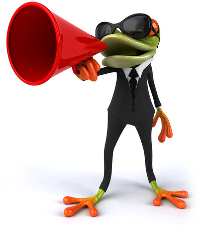 Cartoon frog in a suit with megaphone