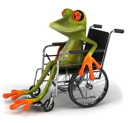 croaking: Cartoon frog on a wheelchair
