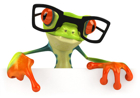 Cartoon frog with glasses is pointing