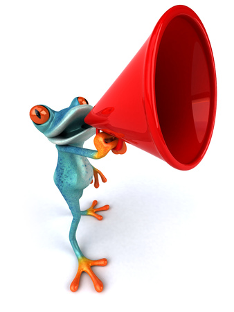 Cartoon frog with a megaphone