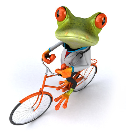 Cartoon frog in doctor uniform riding a bicycle