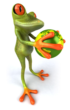 Cartoon frog with holding earth globe Stock Photo
