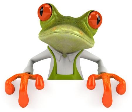 croaking: Cartoon frog in apron Stock Photo
