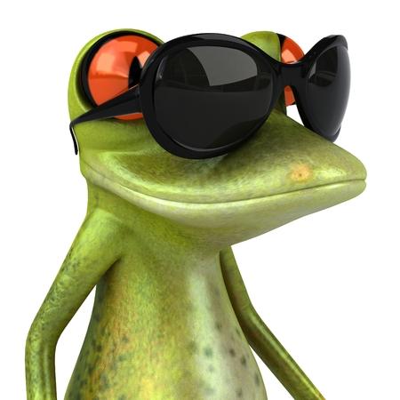 Cartoon frog with sunglasses Stock Photo