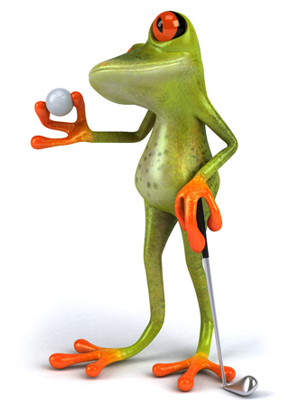 Cartoon frog with a golf and golf club Stock Photo