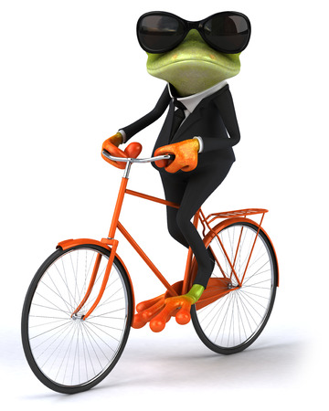 Cartoon frog in a suit with sunglasses riding bicycle Foto de archivo