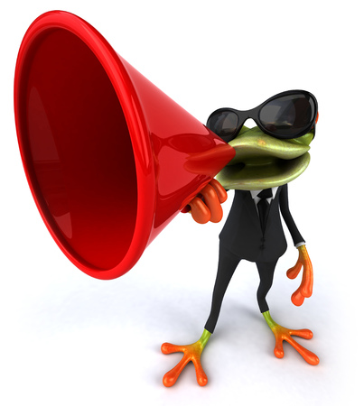 Cartoon frog in a suit with a megaphone