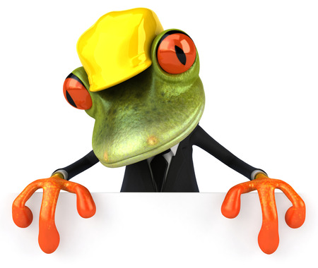 croaking: Cartoon frog in a suit with safety hat