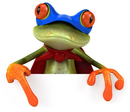 Cartoon frog in a superhero costume