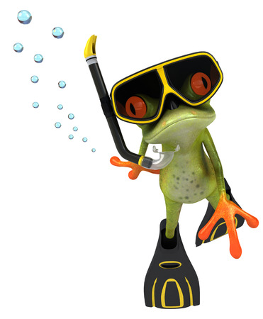 Cartoon frog with snorkeling gears