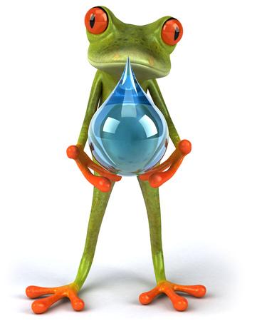 croaking: Cartoon frog holding water droplet Stock Photo