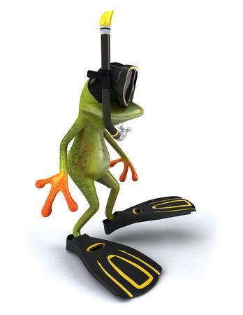 Cartoon frog with snorkeling gears