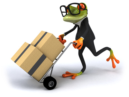 Cartoon frog in a suit pushing trolley with boxes