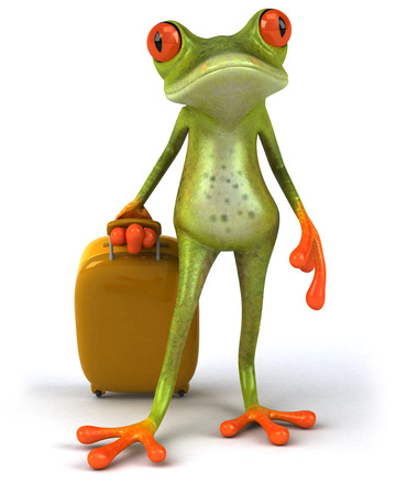 croaking: Cartoon frog pulling a luggage
