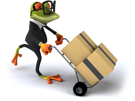 Cartoon frog with glasses pushing a trolley with boxes Stock Photo