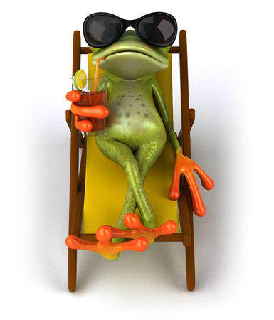 Cartoon frog drinking juice on a deckchair