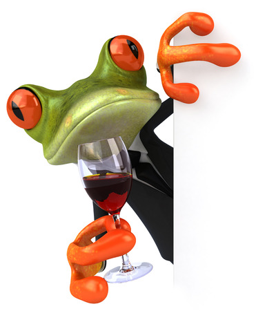 Cartoon frog in suit holding a glass of wine Stock Photo