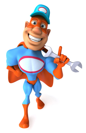 Cartoon superhero with wrench pointing