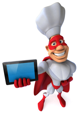 Cartoon superhero showing a tablet computer Stock Photo