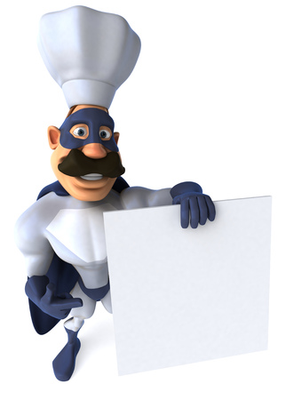 Cartoon superhero with chef hat holding and pointing to a signboard Stock Photo