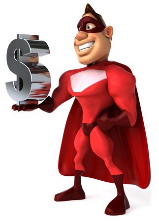 us currency: Cartoon superhero holding Dollar currency symbol Stock Photo