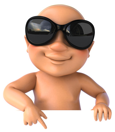 Cartoon baby with sunglasses pointing downward
