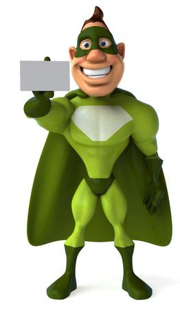 Cartoon superhero showing a name card