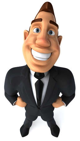 length: Cartoon businessman standing and smiling Stock Photo