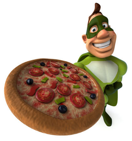 length: Cartoon superhero showing a pizza