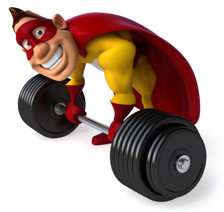 length: Cartoon superhero lifting a barbell Stock Photo