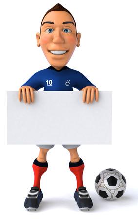 Cartoon soccer player holding a signboard