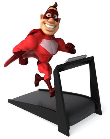 Cartoon superhero running on treadmill Stock Photo