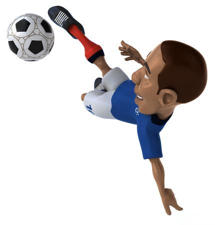 Jugador de fútbol de dibujos animados con el fútbol Foto de archivo