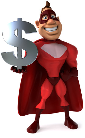 Cartoon superhero holding Dollar currency symbol Stock Photo