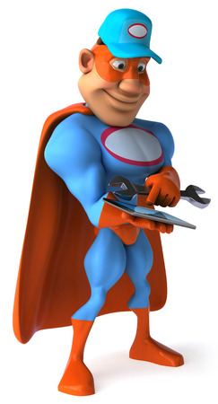 Cartoon superhero with wrench using a tablet computer