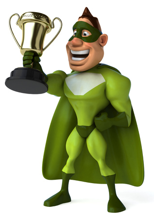 Cartoon superhero holding a trophy