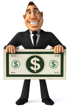 front view: Cartoon businessman holding cash