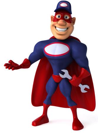 masked: Cartoon superhero with wrench posing