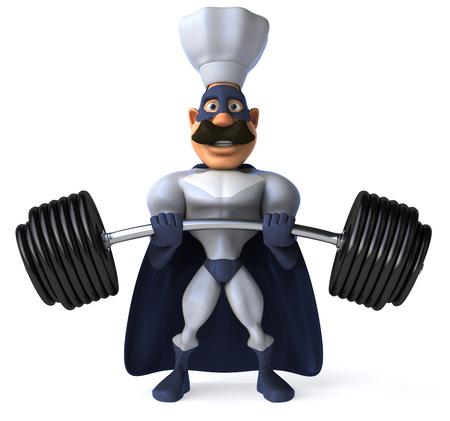 Cartoon superhero with chef hat lifting barbells