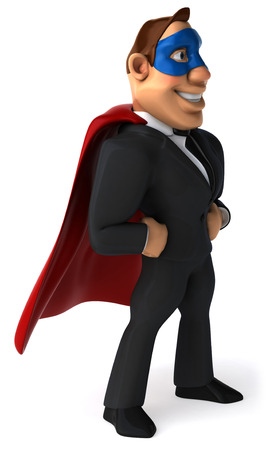 Cartoon businessman with cape and mask Stock Photo