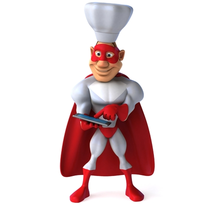 Cartoon super hero with chef hat using a tablet computer