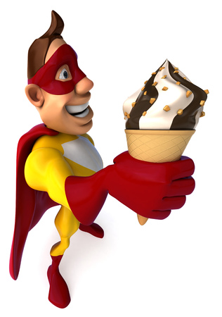 creamy: Cartoon superhero with an ice cream Stock Photo