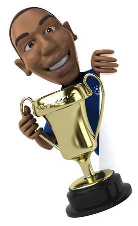 jersey: Cartoon soccer player with a trophy