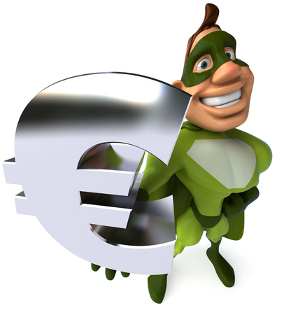 Cartoon Superhero Showing Euro Currency Symbol Stock Photo Picture