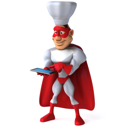 using tablet: Cartoon superhero with chef hat using a tablet computer